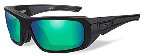 (WileyX ENZO Safety Glasses Unisex Full Rimmed Plastic Frames in Wraparound Shape Offered in POL EMERALD MIRROR LENS/MATTE BLACK FRAME from Eyeweb)