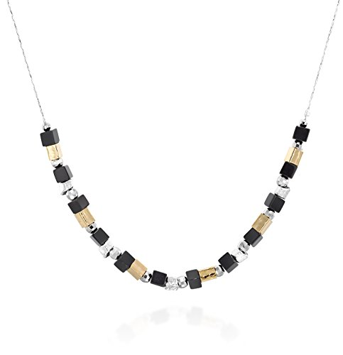 - Stera Jewelry Black Onyx Beaded Necklace with Diamond Cut Silver Beads & Hammered Gold Plated Tubes, 18