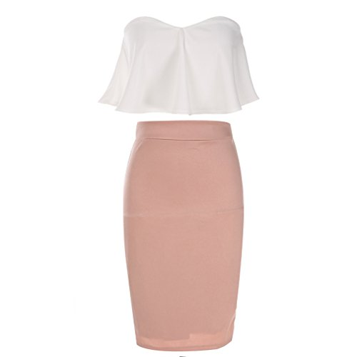Dolland Women's Crop Top & Skirt Outfit Two Piece Bodycon Bandage Party Dresses,White,S by Dolland (Image #2)