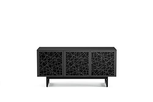 BDI 8777 RC-ME-CRL Elements Triple Wide Cabinet with Media Base, Ricochet Doors, Charcoal Stained Ash