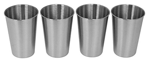 Southern Homewares SH-10145-S4 Stainless Steel Pint Glass 16oz Metal Cup Beer Soda Drink Tumbler Set of 4, Silver by Southern Homewares