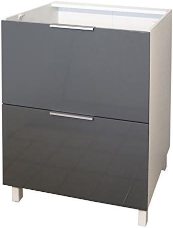 Berlenus CT6BG - Mueble bajo de Cocina (2 cajones, 60 cm), Color Gris Brillante: Amazon.es: Hogar