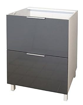 Berlenus CT6BG - Mueble bajo de cocina (2 cajones, 60 cm), color ...