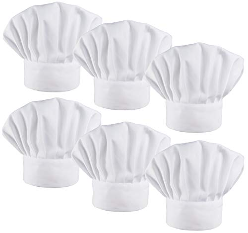 LilMents 6 Pack Chef Hat Set Elastic Baker Kitchen Catering Cooking Chefs Hats (White)