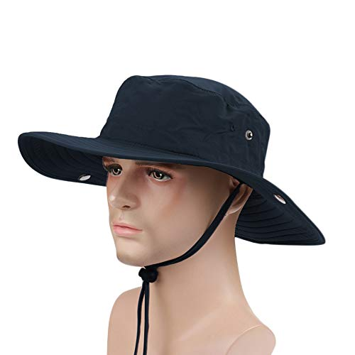 Ezyoutdoor Outdoor Collapsible Quick-dry Fishing Hat Wide Brim Boonie Cap Cowboy Bucket Hat with Chin Cord for Fishing Hunting Camping Swimming Hiking(Dark Blue)