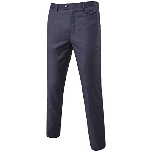 Gris Slim Casual Homme Business Chino Costume Pantalons Plat Pantalon Foncé Fit Détendue Travail Chengyang AS46qOpww