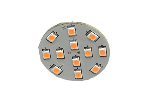 GoldenGadgets T10 921 194 Wedge RV LED Disc Bulb with 12 LED 12V or 24V DC RV-T10-12LED-BOT-WARM-2PAK Warm White 3000K Bottom Mount