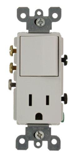Decora Grounding Switch - Leviton 5645-W 15 Amp, 120 Volt, Decora 3-Way/AC Combination Switch, Commercial Grade, Grounding, White