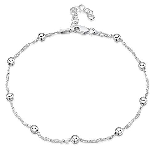 "925 Fine Sterling Silver 1.4 mm Adjustable Anklet - Singapore Chain with 4 mm Ball Beads Ankle Bracelet - 9"" to 10"" inch - Flexible Fit"