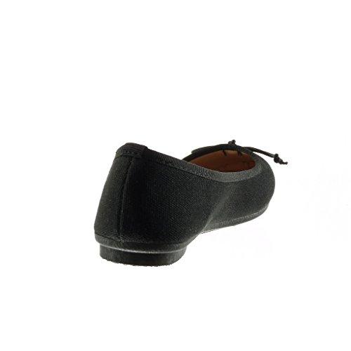 Angkorly Damen Schuhe Ballerina - Slip-on - Knoten - Geflochten Flache Ferse 1 cm Schwarz
