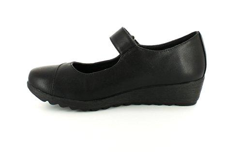 NUEVO MUJER NEGRO Ever So Soft CIERRE ADHESIVO Bailarinas Zapatos - Negro - GB Tallas 3-8