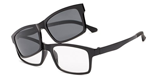 Readers.com | The Twist Polarized Magnetic Reading Sunglasses +1.50 Glossy Black Rectangle Men