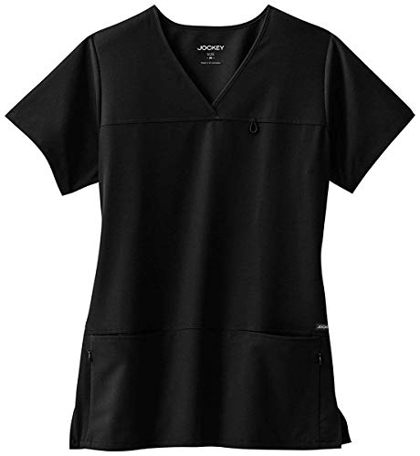 Jockey Scrub Tops - Classic Fit Collection by Jockey Women's 6 Pocket Solid Scrub Top Medium Black