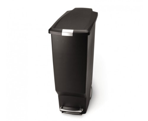 simplehuman 40 Liter / 10.6 Gallon Slim Kitchen Step Trash Can, Black Plastic Bin With Secure Slide Lock by simplehuman