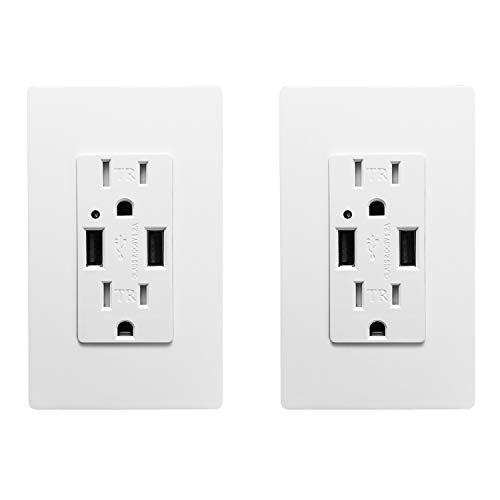 USB Wall Outlet - SECKATECH Dual USB Ports 4.2A DC Smart High Speed White Wall Charger Socket,15A TR AC Receptacle,for iphoneX,iphone 8/8 plus, Samsung Galaxy and more, 4 Wall Plates(2 PACK)