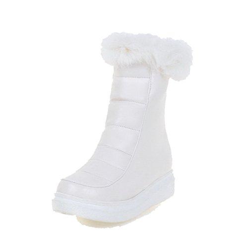 VogueZone009 Damen Niedriger Absatz Rein Schließen Zehe Reißverschluss Stiefel Weiß