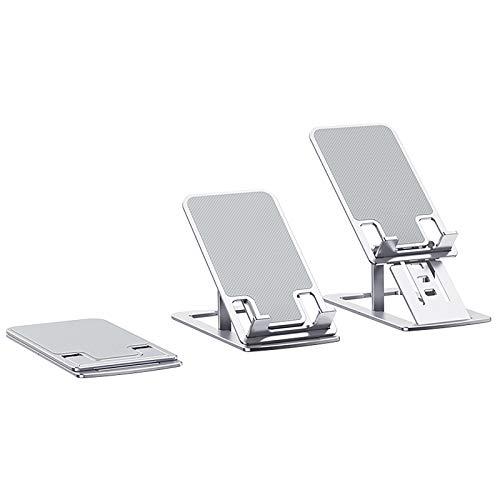 Soporte Plegable Portátil para Teléfono Móvil con Base De Tableta, Soporte De Aluminio para Escritorios, Soporte Móvil, Multiángulo Soporte Tablet Mesa (Plata)