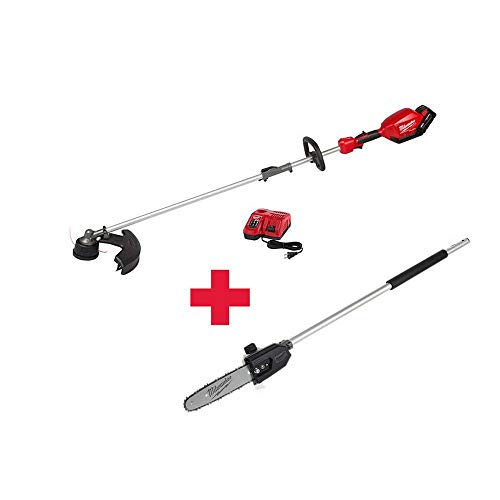 Milwaukee M18 FUEL 18-Volt Lithium-Ion Brushless Cordless String Trimmer Kit with M18 FUEL 10 in. Pole Saw Attachment