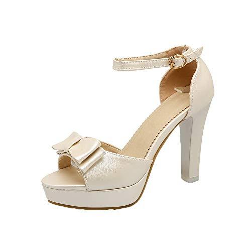 Beige hoge met sandalen en gesp hak dameshoge Gmxlb009889 Agoolar wvqRx8SR