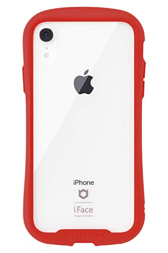 iFace Reflection iPhone XR ケース クリア 強化ガラス [レッド]
