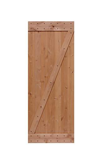 LUBANN 32 in. x 84 in. Rustic Z-Brace Hardwood Barn Door Unfinished Knotty Alder Solid Wood Barn Door Slab ()