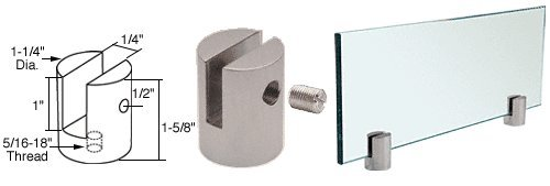 Brushed Stainless Slot Mount (C.R. LAURENCE SM14BS CRL Brushed Stainless Slot Mount Standoff for 1/4