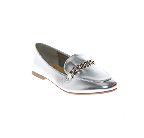 CALICO KIKI Women's Casual Slip-on Penny Loafer Flats Comfort Shoes Silver