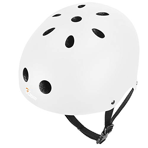 JBM international EPS foam Impact resistance & Ventilation Skateboard Helmet for Multi-sports, Small - White
