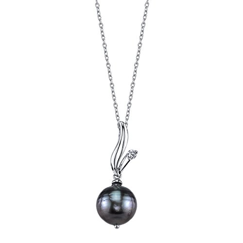 THE PEARL SOURCE 9-10mm Baroque Black Tahitian Cultured Pearl & Cubic Zirconia Anya Pendant Necklace for Women ()