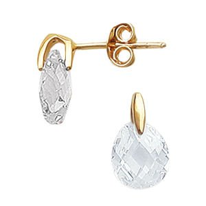 So Chic Jewels - 18K Gold Plated White Cubic Zirconia Faceted Droplet Earrings