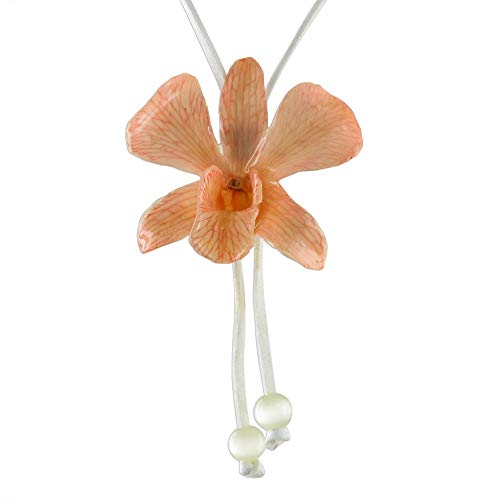 NOVICA Glass Bead Natural Orchid Pendant Necklace, 32