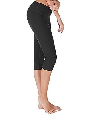 Yoga Capris Pants Basic Active Yoga Running Workout Leggings Inner Pocket
