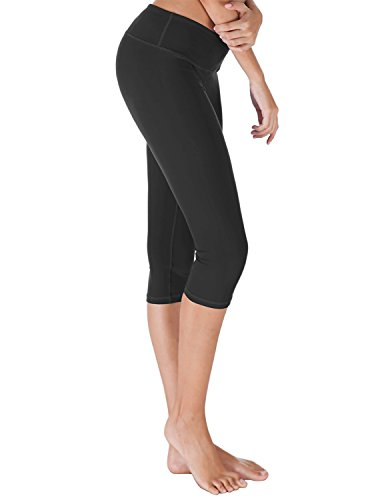 Yoga Reflex - Women's Yoga Capris Pants - Active Capri Leggings With Hidden Pocket (XS-2XL) , Black , Small