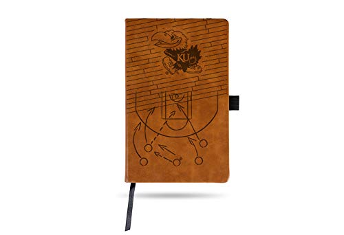 Rico Industries Kansas University Basketball Laser Engraved Brown Notepad with Elastic Band