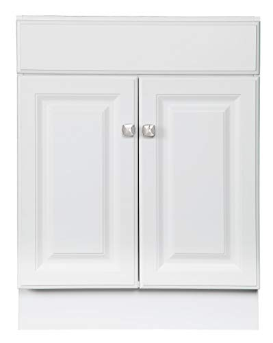 Design House 531731 Wyndham Ready-To-Assemble 2 Door Vanity, White, 24-Inches Wide by 31.5-Inches Tall by 18-Inches Deep - 24 in. W x 18 in. D x 31. 5 in. H Plenty of storage for toiletries to keep your countertop free of clutter Concealed hinges for a clean look - bathroom-vanities, bathroom-fixtures-hardware, bathroom - 31hye P3ghL -