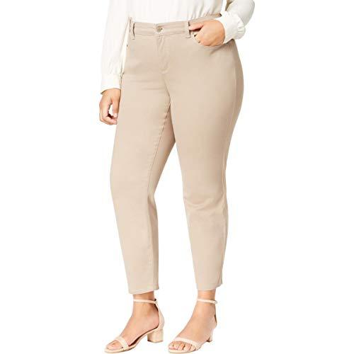 (Charter Club Womens Plus Bristol Officewear Tummy Slimming Ankle Pants Beige 24W)
