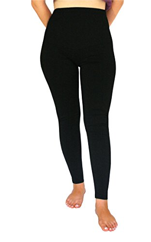 Women UV Protection Tights Leggings Pants Adjustable Waist Belly & Maternity Support Black (L)