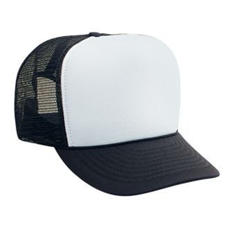 - OTTO Polyester Foam Front 5 Panel High Crown Mesh Back Trucker Hat - Blk/Wht/Blk