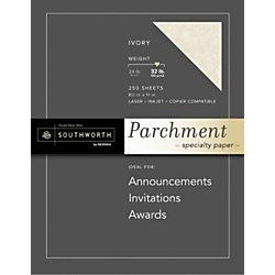 """Southworth Parchment Specialty Paper, 8.5"""" x 11"""", 32 lb., Ivory, 250 Sheets (J988C) Southworth Certificate Parchment Paper"""