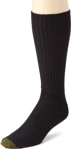 Gold Toe Men's Cotton Fluffie 3 Pack Extended Socks, Black, Size 13-15