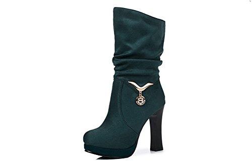 Balamasaabl09683 - Botas Rizadas De Mujer, Verde (verde), 35 Eu