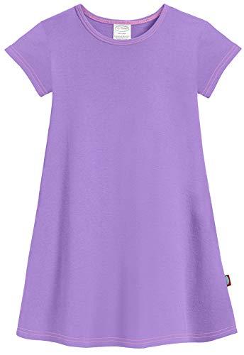 City Threads Big Girls' Cotton Short Sleeve Cover Up Dress for Sensitive Skin SPD Sensory Friendly, Deep Purple, 8