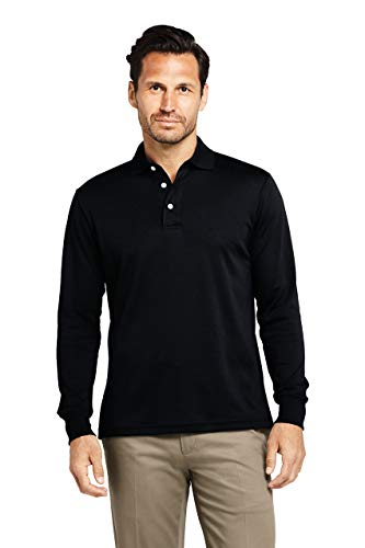 Lands' End Men's Long Sleeve Super Soft Supima Polo Shirt X-Large Black from Lands' End