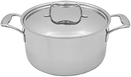 Tuxton Home Duratux Stainless Steel Tri-Ply Dutch Oven with Lid, 6-Quart, Silver