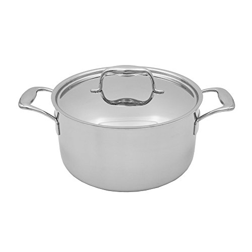 Tuxton Home Duratux Tri-Ply 6 Quart Dishwasher Safe Covered Dutch Oven, 6QT, Multi-Clad Stainless Steel, Freezer to Oven Safe up to 500F, Induction Compatible - Dishwasher Safe Stainless Steel Dutch Oven