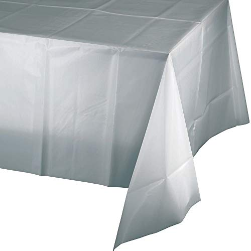 Mountclear 12-Pack Disposable Plastic Tablecloths 54 x 108 Rectangle Table Cover (Silver)