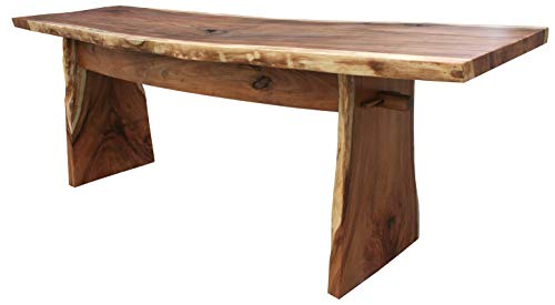 Suar Live Edge Slab Freestanding Bar with Shelf, 118 Inch Made by Chic Teak