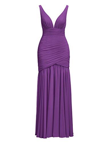 Purple Evening Bridesmaid Sleeveless Long Neck Chiffon Dresses V Alicepub Prom nWZqUFvqz