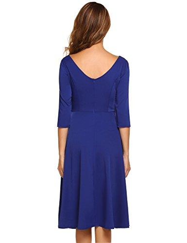 HOTOUCH Women Classic A-line Casual Long Flowy Dress(Royal Blue XXL)