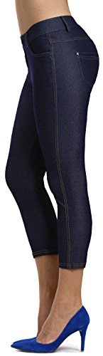 Prolific Health Women's Jean Look Jeggings Tights Slimming Many Colors Spandex Leggings Pants Capri S-XXXL (X-Large, Navy Blue Capri)